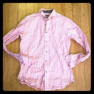 Men's gap pink plaid classic button front shirt